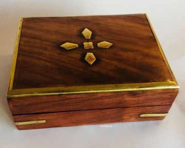 "BRASS 6x4.5"" DIAMONDS & BORDER Jewellery Trinket Memorial Box"